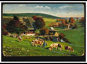 Künstler-AK Schwarzwaldhaus im Schiltachtal mit Rinderherde, Feldpost 1914/1918