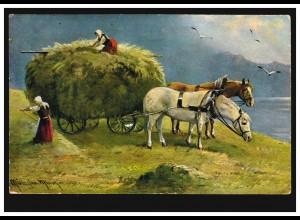 Tiere-AK Heuernte: Pferdegespann wird beladen, per Bahnpost 1918
