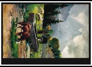 Tiere-AK Kühe auf der Alm an der Tränke, UETERSEN (HOLSTEIN) 2.12.1909