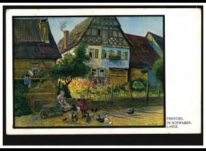 Künstler-AK Prentzel: Im Schwaben-Lande Dorfidylle mit Hühnern, ungebraucht