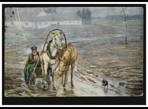 Künstler-AK Wiederhold: Schneemelze - Russisches Pferdegespann, gelaufen 1925