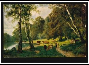 Künstler-AK Paul Heckscher: Landschaft See Rinderherde, FRANKFURT/MAIN 17.7.1918