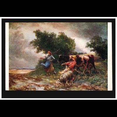 Künstler-AK Laugee: Wind before the storm - Bäuerin und Junge mit Kuh und Schaf