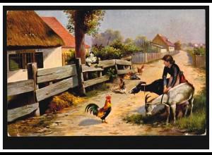 Künstler-AK Dorfstraße mit Geflügel Hühner Ziegen, FRANKFURT / MAIN 1907