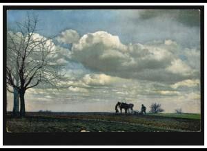 Künstler-AK Landschaftsbild mit Pferdegespann beim Pflügen, STUTTGART 25.6.1908