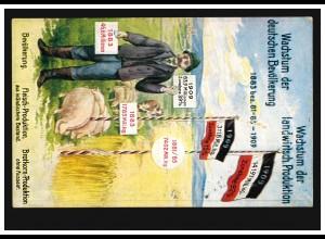 Propaganda-AK Wachstum Bevölkerung und landwirtschaftliche Produktion, um 1910