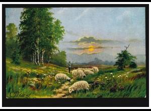 Künstler-AK Present: Schäfer mit Schafherde, FRANKFURT/MAIN-BOCKENHEIM 1906