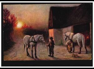 Künstler-AK Dorfidylle mit Pferden: Abends beim Hufschmied, gelaufen um 1910