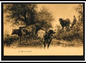 Künstler-AK R. Koller: Le soir Abendliche Rückkehr der Rinder, ZÜRICH 3.8.1926