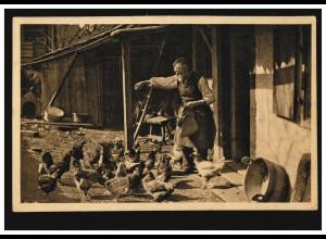 Foto-AK Idyllen aus dem Schwarzwald: Geflügel-Fütterung, ungebraucht, um 1930