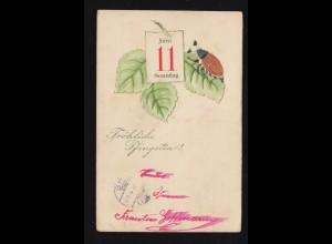 Tiere-AK Pfingsten Maikäfer auf Blatt, Soldatenkarte ARS (MOSEL) 1.6.1914