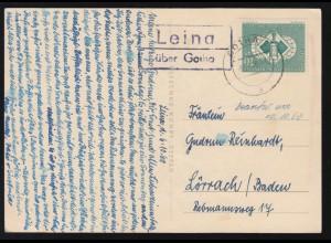Landpost-Stempel Leina über GOTHA 6.10.1960 auf Scherenschnitt-AK Ernte Dank