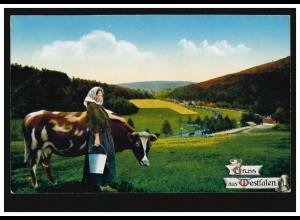 AK Gruss aus Westfalen: Bäuerin mit Milcheimer und Kuh, ungebraucht