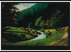 AK Gruss aus Thüringen: Rinder überqueren einen Bach, ungebraucht