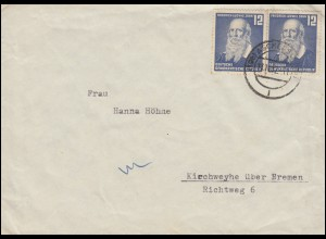 317 Ludwig Jahn als MeF auf Brief ASCHERSLEBEN 13.11.1952 nach Kirchweyhe