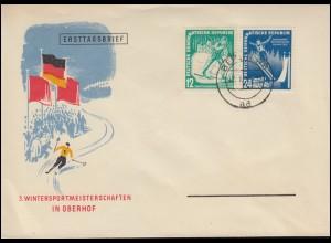 298-299 Wintersport 1952 Satz auf Blanko-Schmuck-FDC Ersttags-O BERLIN 12.1.52