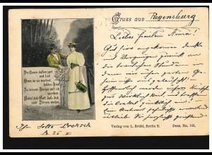 Gruss aus ... AK Liebespaar am Gartentor mit Rosen-Gedicht, REGENSBURG 8.7.1898