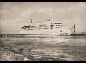 Foto-AK Schiffe: Fährschiff WARNEMÜNDE verläßt den Hafen von Warnemünde, 21.5.66