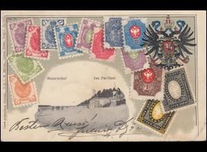 Rußland AK Briefmarken Rußlands Majorenhof See Pavilion, nach GERA / REUSS 1905