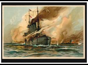 Künstler-AK Schiffe: Willy Stoewer - Deutscher Kreuzer beschießt russische Küste
