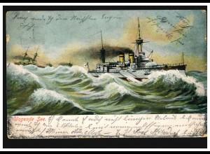 Kriegs-AK Zerstörer / Kriegsschiffe in wogender See, nach INSE 10.10.1906