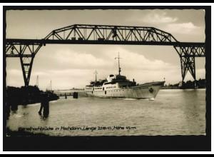 Foto-AK Schiffe: Kanalhochbrücke in Hochdonn - mit Dampferdurchfahrt, 14.6.1953