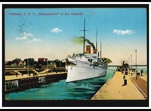 AK Schiffe: Holtenau - S.M.Y. HOHENZOLLERN in der Schleuse, KIEL 1913