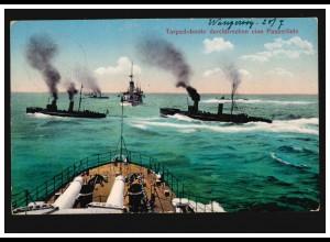 Foto-AK Kriegsschiffe Torpedoboote durchbrechen eine Panzerlinie WANGEROOGE 1914