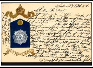 Militaria-AK Prägedruck Gruss aus der Garnision Wappen BERLIN N.W. 52 c 25.10.01