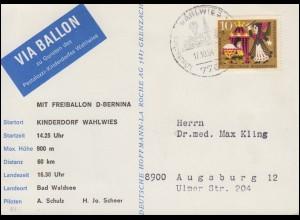 31. BP Pestalozzi-Kinderdorf Ballonflug D-BERNINA Wahlwies-Bad Waldsee 17.10.64