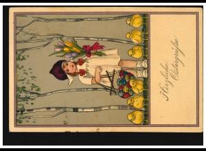 Künstler-AK Ostern Mädchen mit Blumen Ostereier Küken, KÖLN-MÜLHEIM 31.3.1923