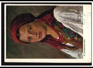 Künstler-AK L. Zelechowski: Bauernmädchen in Tracht, KRAKAU 28.3.1911