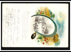 Landwirtschaft-AK Sichel Getreidefeld im Herbst mit Winterlandschaft BREMEN 1902
