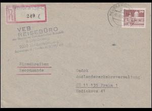 2602 Aufbau Kleinformat 70 Pfennig EF Auslands-R-Brief NEUBRANDENBURG 2.3.1988