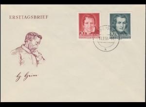 516-517 Heinrich Heine 1956 - Satz auf Schmuck-FDC ET-O LÖBAU (SACHSEN) 17.2.56