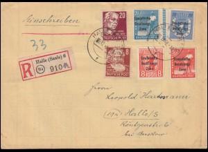 Orts-R-Brief HALLE/SAALE 6.12.1948 mit 184ff SBZ-Aufdrucke und Persönlickkeiten