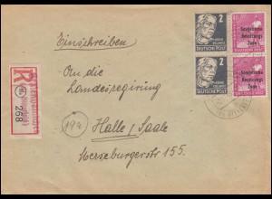 193 SBZ-Aufdruck + 212 Kollwitz MiF R-Brief Not-R-Zettel GRAFENHAINICHEN 2.11.48