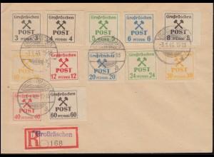 Großräschen 31-42 Gebührenmarken, 12 Werte komplett, Blanko-R-Brief 3.1.1946