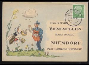 Karikatur-Karte Honighaus Bienenfleiss: Biene bekommt Post, BOCHUM 3.4.1956