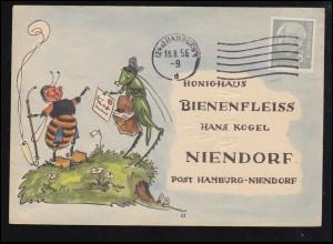 Karikatur-Karte Honighaus Bienenfleiss: Biene mit Grillenpost, HAMBURG 18.8.1956