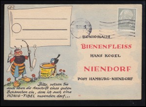 Karikatur-Karte Honighaus Bienenfleiss: Biene mit Tabakpfeife HAMBURG 12.11.1956