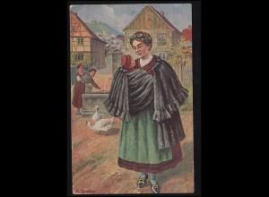 Künstler-AK Trachten aus Thüringen - Fr. Rowland: Am Dorfbrunnen, gelaufen 1916