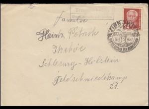 Landpost-Stempel Trassenheide über Zinnowitz auf Usedom Brief SSt ZINNOWITZ 1953