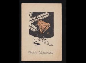Künstler-AK Ant. Preis: Weihnachten Zweig mit Glocke Kirche, MÜLHEIM / RUHR 1946