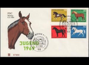 578-581 Jugend Pferde 1969 - Satz auf Schmuck-FDC ESSt Bonn