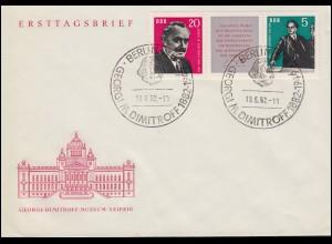 893-894 Dimitrow-Zusammendruck W Zd 31 Schmuck-FDC ESSt BERLIN Kopfbild 18.6.62