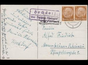 Landpost-Stempel Hochdorf über FREIBURG (BREISGAU) 30.12.1940 auf Neujahrskarte