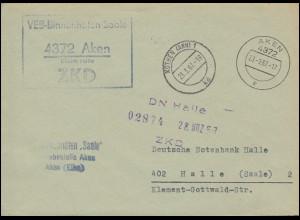 ZKD-Brief VEB Binnenhäfen Saale AKEN 23.3.1967 an die DN in HALLE/SAALE 23.3.67