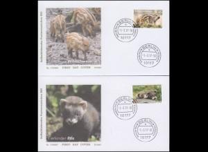 3292-3294 Wildschwein & Iltis, selbstklebend, Satz auf 2 Schmuck-FDC VS-O Berlin