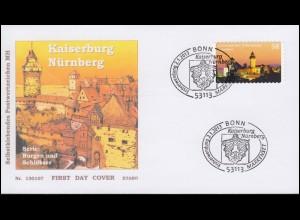 2978 Kaiserburg Nürnberg, selbstklebend, Schmuck-FDC EV-O BONN